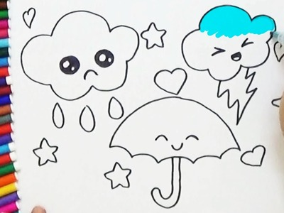 How to Draw cute Umbrella and Clouds - Cute and Easy   BoDraw