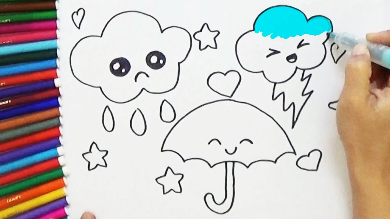 How to Draw cute Umbrella and Clouds - Cute and Easy | BoDraw