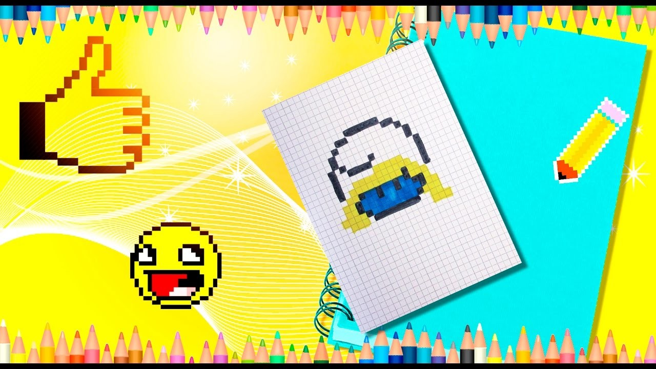 How to draw Smurfette, a girl from the Smurfs. Pixel Smurfette