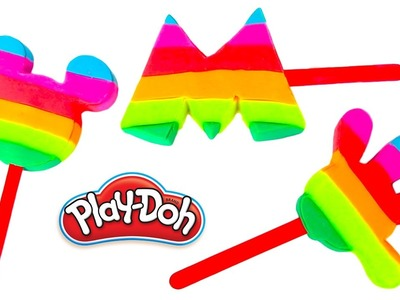 Mickey Mouse Clubhouse Play Doh Molds Disney Popsicles Rainbow Learning Diy Plastilina Castle Toys