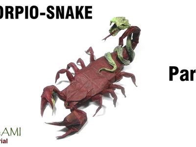 Origami Scorpio - snake tutorial (Author: ????) Part 2 折り紙  サソリ - ヘビ  оригами скорпион Scorpion