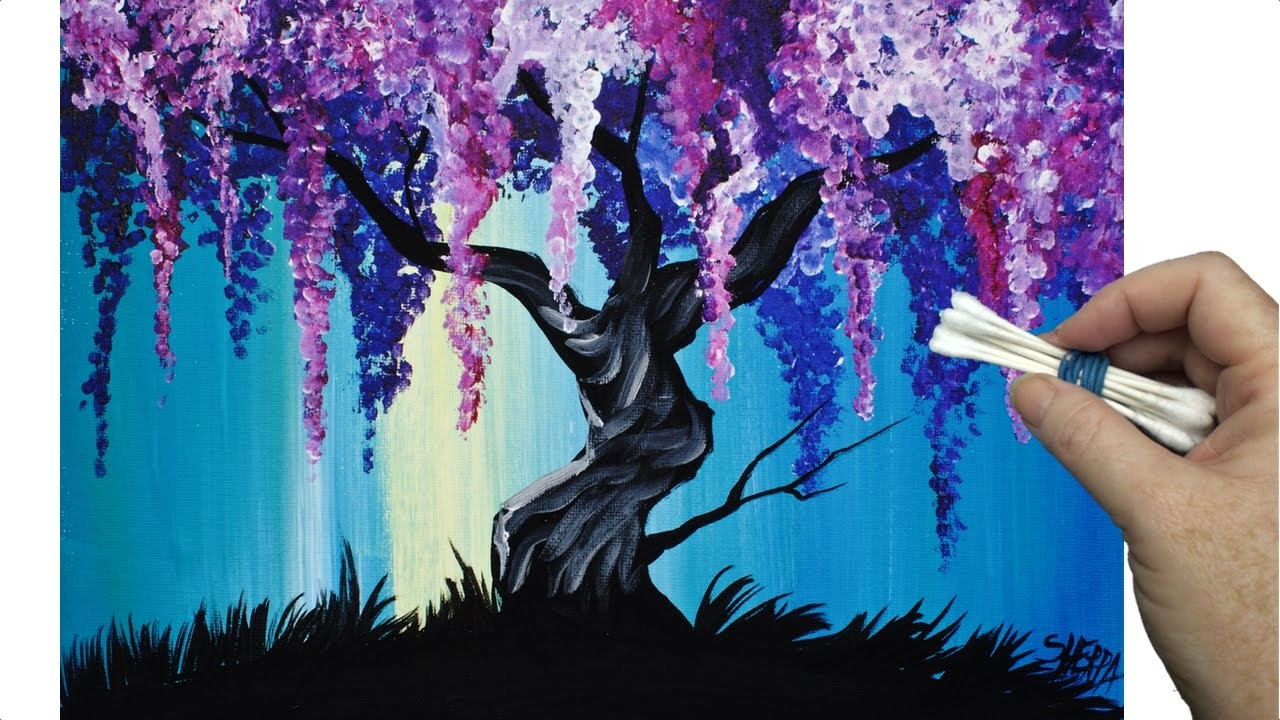 Wisteria willow tree q tip painting technique for for Tips for using acrylic paint