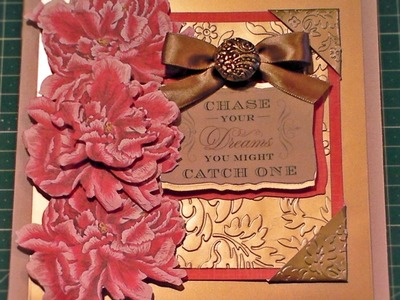 114. Card Tutorial: Anna Griffin Peony Decoupage Gold Embossed Card