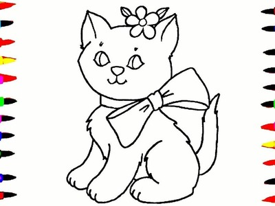 Cat Drawing and Coloring Videos For Children l Cute Cat  With a Bow Coloring Pages Teach Drawing
