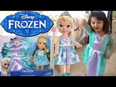 Disney Frozen Elsa Doll and Toddler Dress Gift Set - Dress Up in Elsa Costume and Singing Let it Go