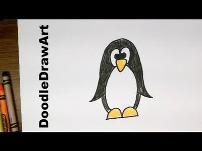 Drawing: How To Draw Cartoon Penguin - Easy Art Tutorial for Kids or Beginners [HD]