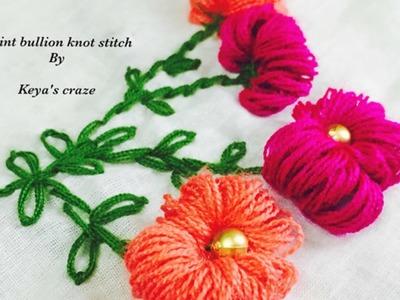 Gaint bullion knot stitch.2 way to make gaint bullion knot.Keya's craze hand embroidery-38