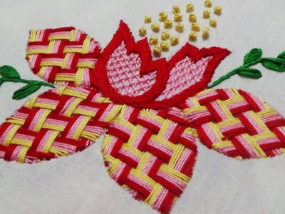 Hand Embroidery: Fantasy Flower.Checkered Stitch