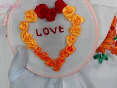 """Hand Embroidery - Writing """"Love"""" in Ribbon Roses Stitch"""