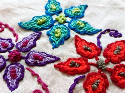 Handembroidery flower filling stitch   knot stitch variation   scroll stitch filling in flower   153