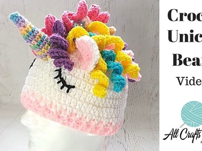 How to Crochet Unicorn Hat  (Video One) easy tutorial