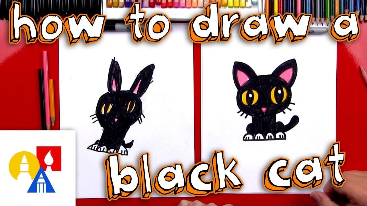 How To Draw A Cartoon Black Cat