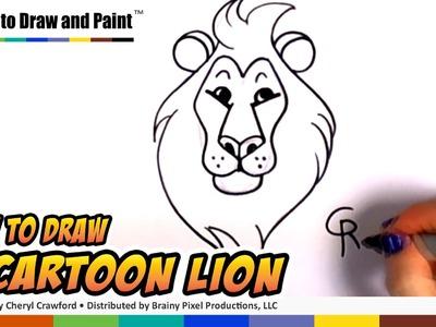How to Draw a Cartoon Lion Step by Step -  Art for Kids - Easy Cartoon Lion Head CC