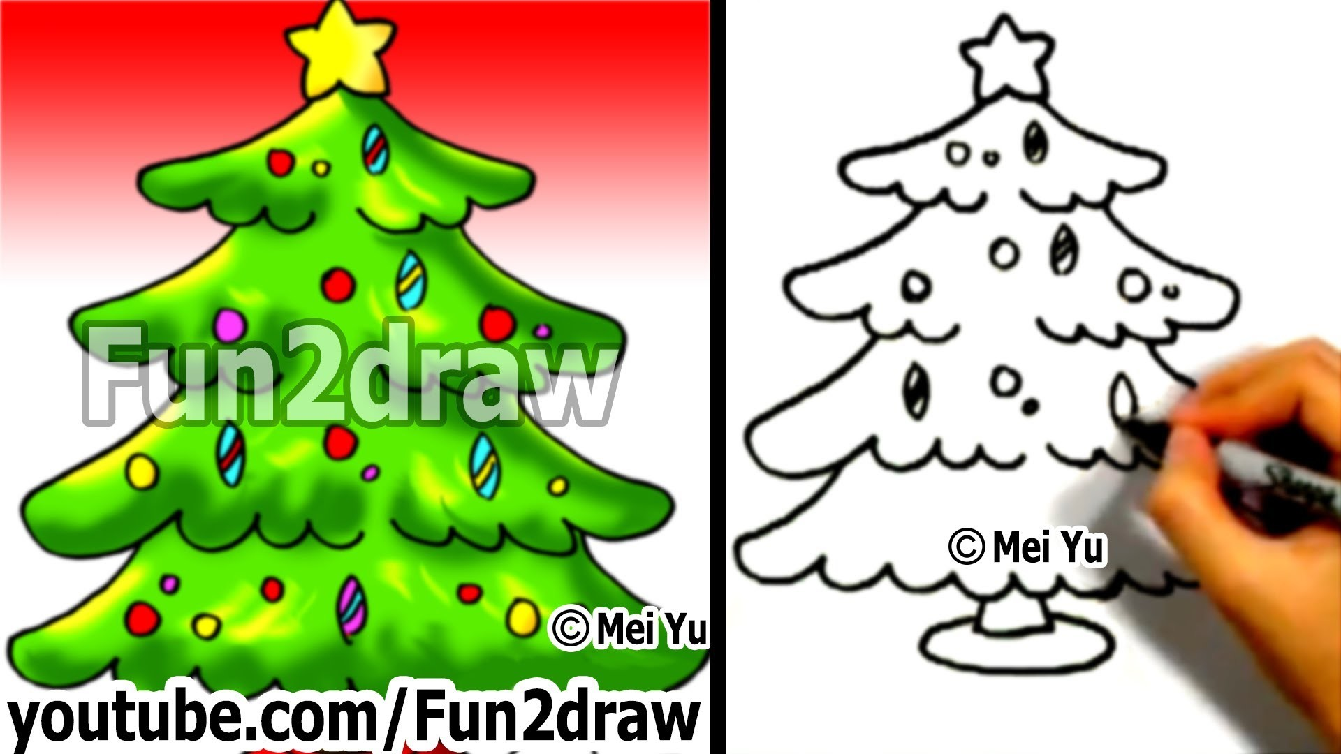 how to draw a christmas tree easy