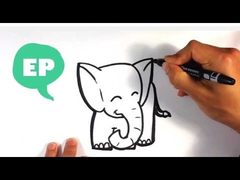 How to Draw a Cute Elephant - Easy Pictures to Draw