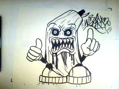 How to Draw a Monster Banana Cartoon - Tutorial