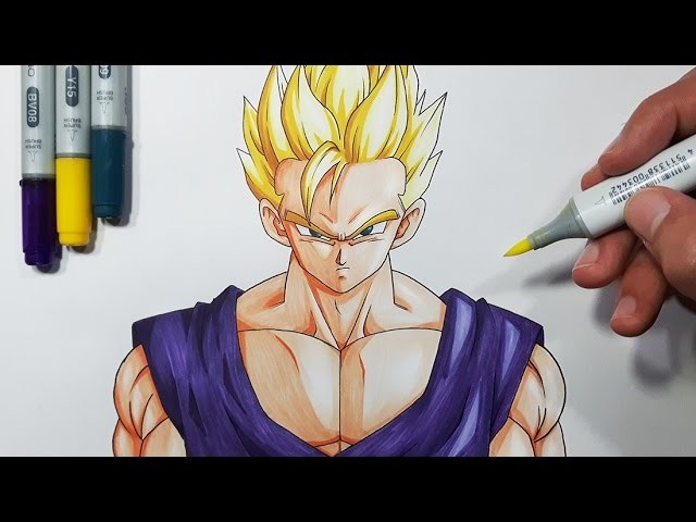 How To Draw Adult Gohan Super Saiyan - Step By Step Tutorial
