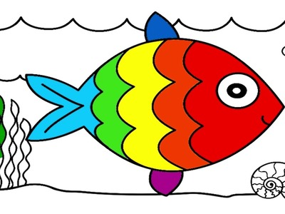 How to draw and coloring fish - art for kids
