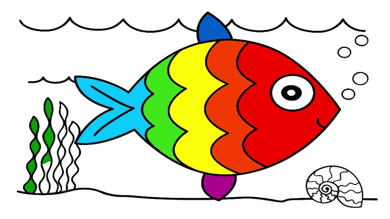 Doh, How to draw and coloring fish - art for kids, How to draw and ...