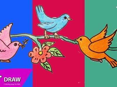 How to Draw birds, flowers, Coloring Pages for Kids | Nursery Rhymes, Art Colors for Kids
