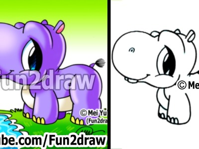 How to Draw Cartoons - Cute Baby Hippo - Easy Drawings - Fun2draw