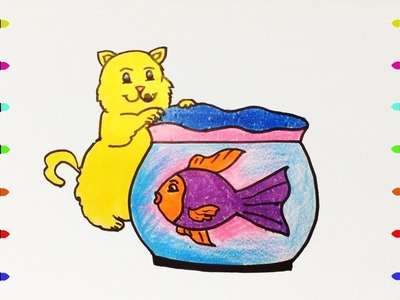 How to Draw cats, fish tank, Coloring Pages for Kids | Nursery Rhymes, Art Colors for Kids
