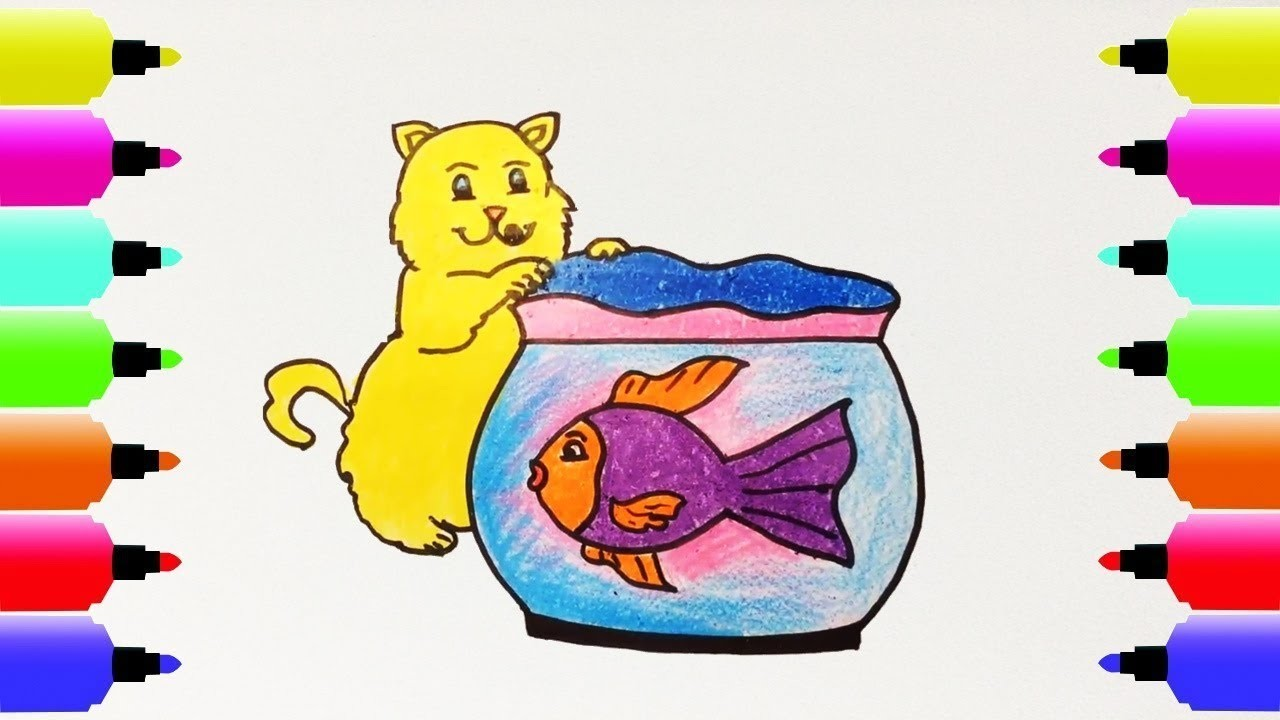 How To Draw Cats Fish Tank Coloring Pages For Kids Nursery Rhymes