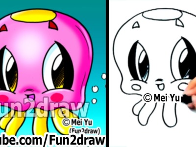 How to Draw Easy Cartoons - How to Draw a Jelly Fish - Cute Art - Fun2draw