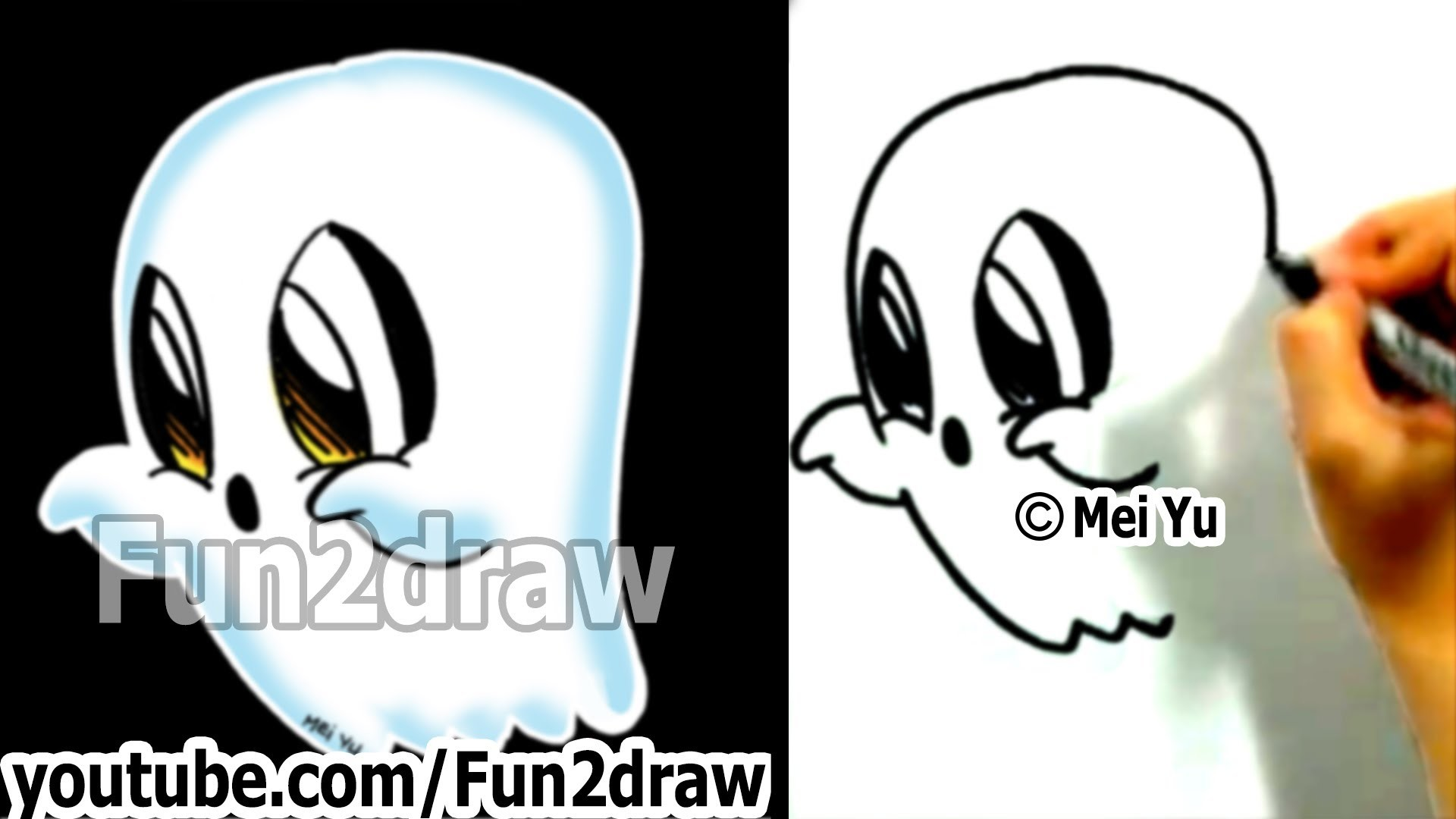 how to draw easy things - learn to draw a cartoon ghost halloween