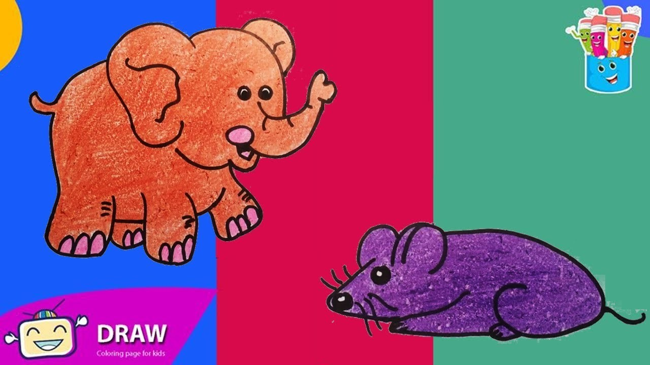 How to Draw elephant, mouse, Coloring Pages for Kids | Nursery Rhymes, Art Colors for Kids