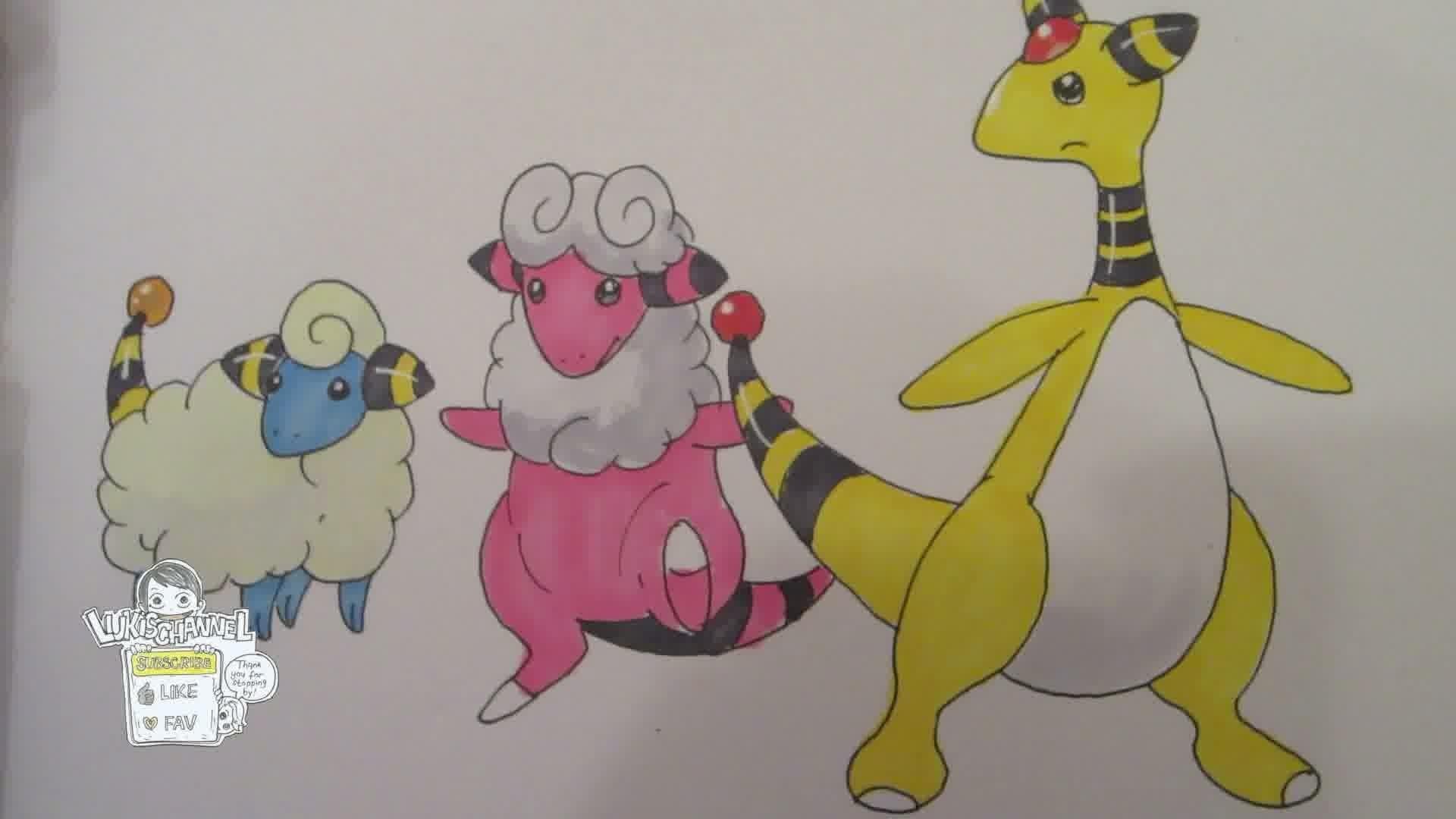 How to draw Pokemon: No.179 Mareep, No.180 Flaaffy, No.181 Ampharos