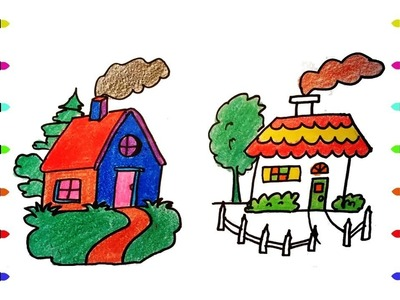 How to Draw the house, Coloring Pages for Kids | Nursery Rhymes, Art Colors for Kids