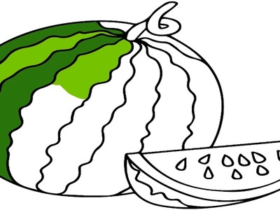 How to Draw Watermelon Coloring Pages Fruit And Coloring For Kids Baby
