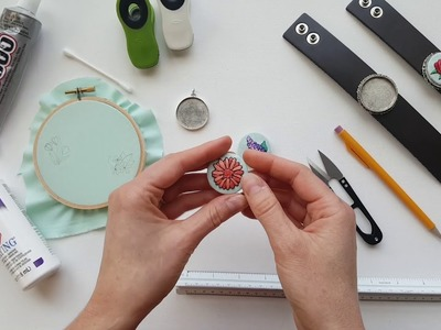 How to Make Embroidered Jewelry using Silver Bezels