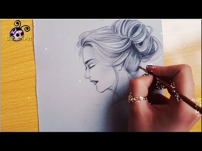 أرسم معي | فتاة بالخطوات | How to draw girl | side view