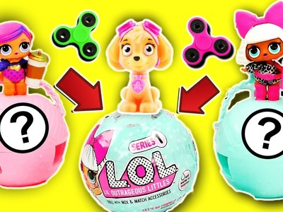 L.O.L. Surprise Dolls & Paw Patrol Skye Fidget Spinner Game! Learn Colors & Numbers!