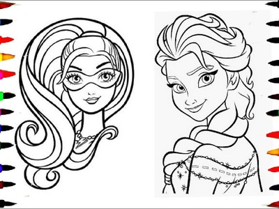 Learn Art l  Coloring and Drawing BARBIE vs Elsa l Coloring Book Pages for Children l Learn Colors