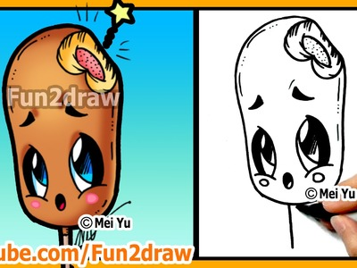Learn to Draw Easy Things - Cute Food Corn Dog - Drawings for Beginners Best Art Lessons by Fun2draw