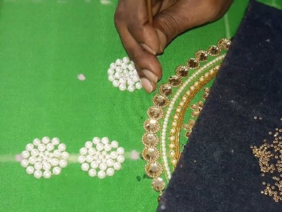 Making of Pearls work flower for neck line