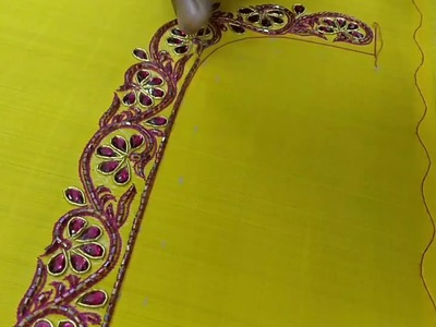 Saree blouse embroidery design using stones and beads
