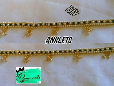 Trendy Anklets - Making with pearl and stone chain | jewellery tutorials