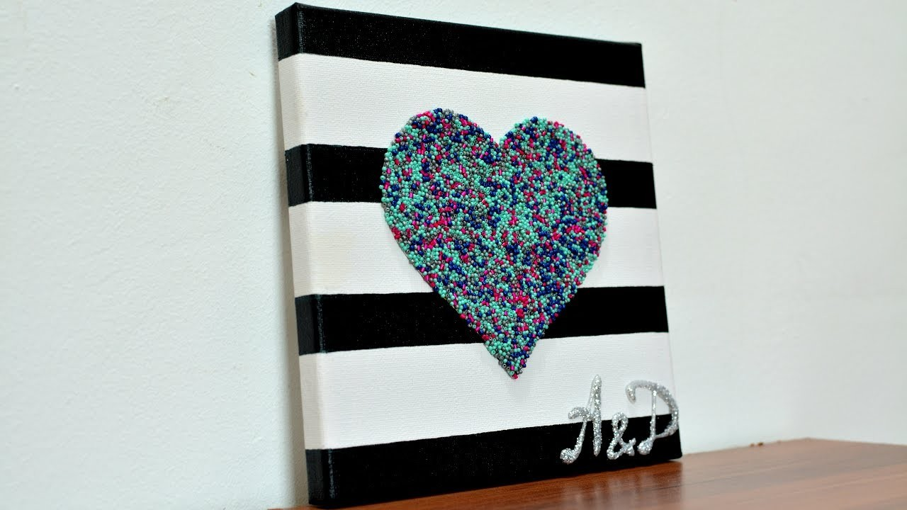 Canvas 3d heart wedding gifts diy wall art craft how to for Room decor gifts