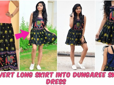 DIY: Convert Long Skirt Into Dungaree Skirt Dress