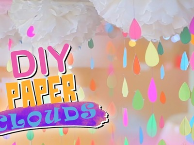 DIY Crepe Paper clouds for PARTY Decoration. innovative craft show using easy & cheap material