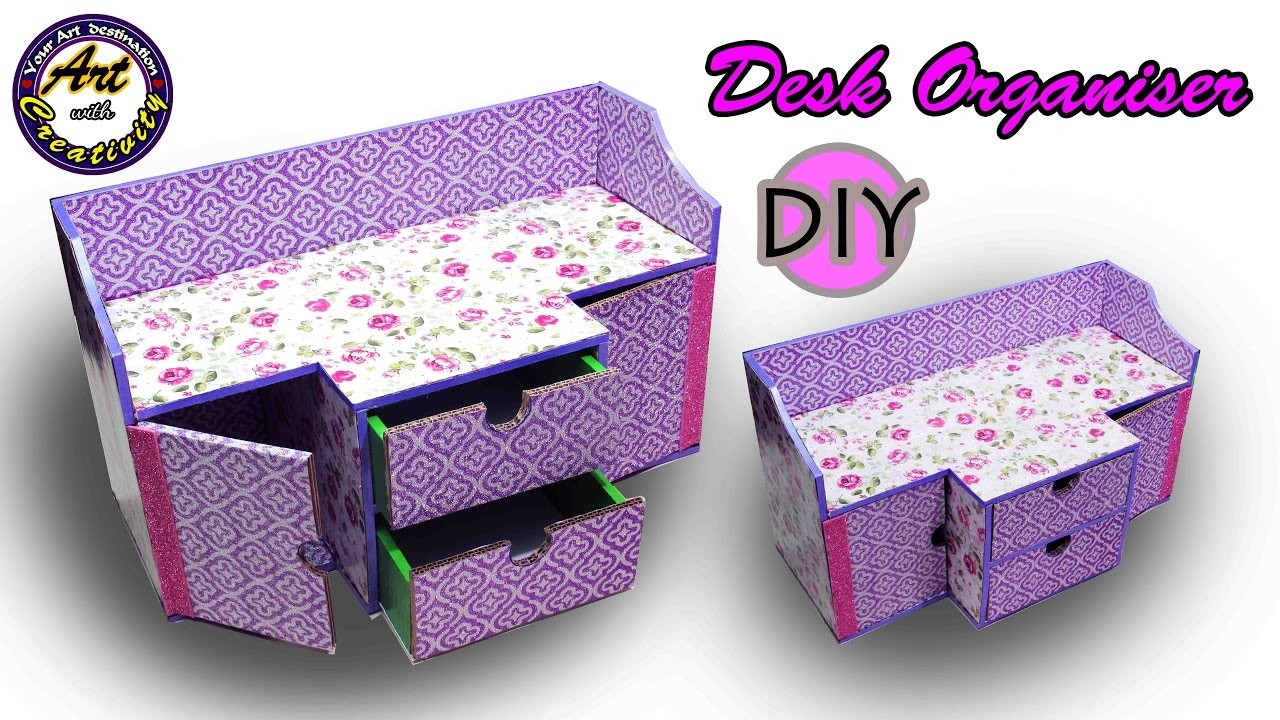 DIY Desk Organizer | Drawer Organizer from Card Board | Best out of Waste | Art with Creativity  202