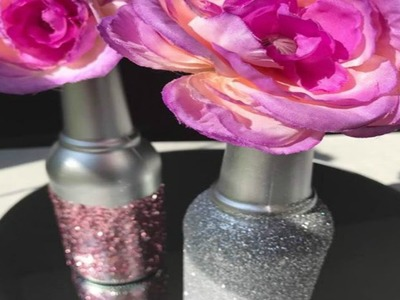 DIY | GLAM BOTTLE UPCYCLE | GLITTER DECORATIONS DIY | PINK | SILVER