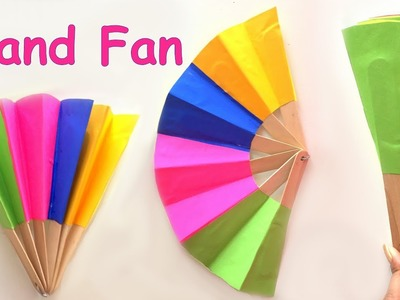 DIY - Homemade paper hand fan. best out of waste. kids craft ideas.