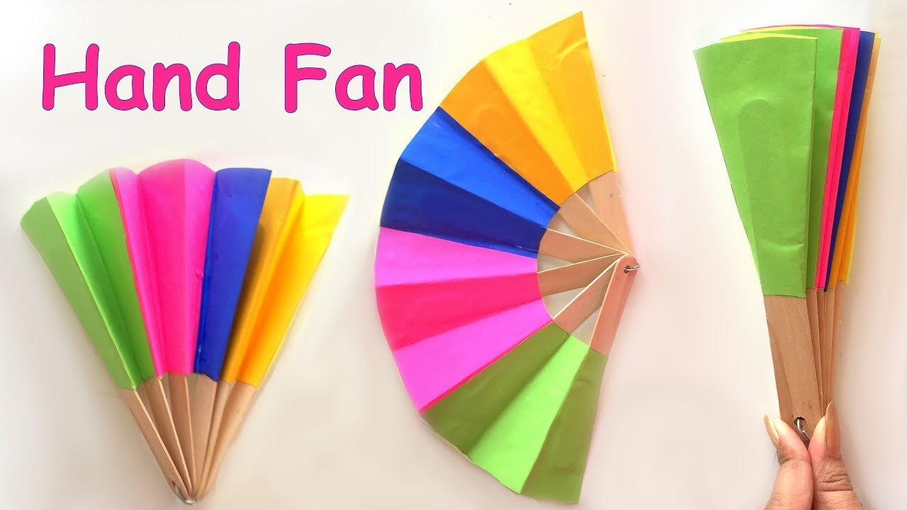 Diy homemade paper hand fan best out of waste kids for Items made from waste material for kids