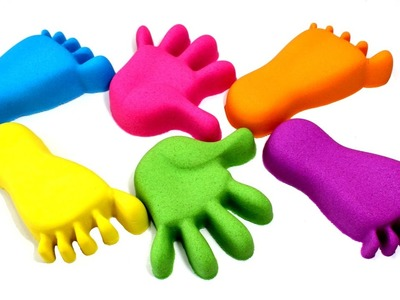 DIY Kinetic Sand Feet and Hands Learn Colors Kinetic Foam Surprise Eggs Opening for Kids