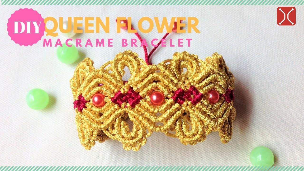 diy macrame bracelet tutorial queen flower easy step by